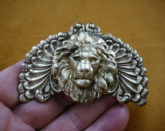 lion head King pride leader love lions scrolled wings Victorian repro brass pin pendant B-Lion-366
