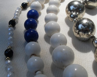 FREE SHIPPING Lot 4 Vintage Necklaces White Cobalt Blue Silver Different Lengths