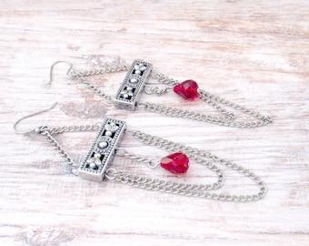Boho Filigree Earrings - Bohemian Filigree Earrings - Filigree Boho Earrings - Boho Silver Filigree Earrings - Gothic Red Crystal Earrings