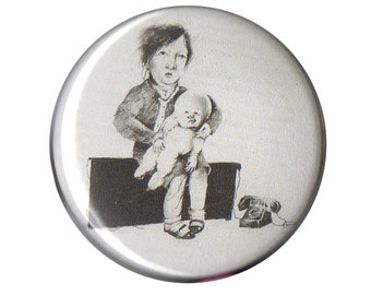 """Scary Stories To Tell In The Dark The Babysitter button pin pinback badge 1.5"""" ONE & a HALF INCH handmade homemade ghost stories horror"""
