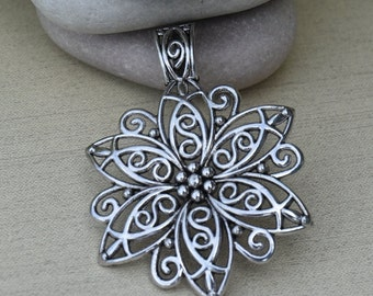 5 Pcs. Large Antique Silver Filigree Flower Pendant, Large Pendant for Scarves or Necklaces, Focal Pendant