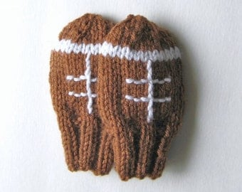 Football Baby Mittens Hand Knit, Ready To Ship, 3 to 12 Months Thumbless Mitts Baby Boy Gift Baby Girl Clothing Winter Wear Sports Clothing