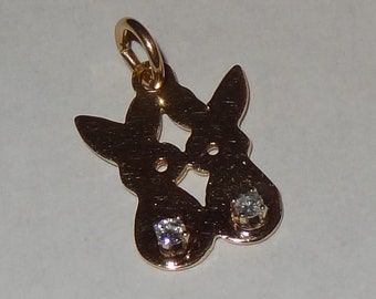 Vintage 14k Yellow Gold and Diamond Bunny Rabbit Charm or Pendant