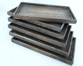 Rustic Antique Coffee Color Wood Bead/Jewelry Sorting Trays  Package Of 6   SALE