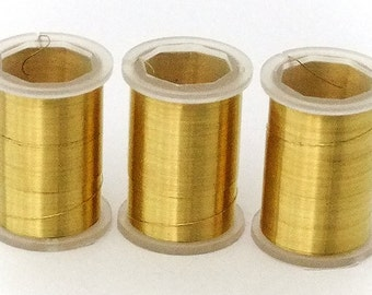 3 Rolls Of Gold Colored 34GA Crafting Wire 72 Yards Total