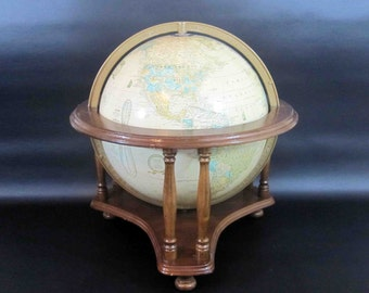 Vintage Cram's Imperial World Globe With Textured Relief and Wooden Stand