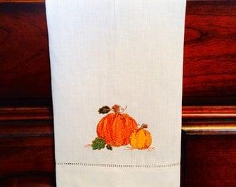 Autumn Pumpkin Tea Towel, set of two