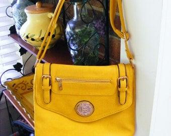 Women's Bright Mustard Yellow Women's Leather Shoulder Handbag