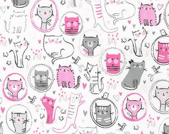 Robert Kaufman Fabric Whiskers and Tails Sweet Kitties Cats