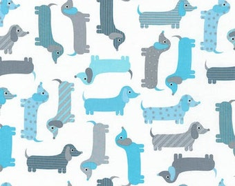 Urban Zoologie Dogs Aqua Dachshunds Robert Kaufman Fabric, Choose your cut