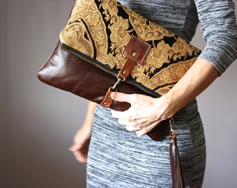 Carpet leather bag, Large Leather foldover clutch, chocolate leather bag, tapestry fabric and  leather clutch, large leather charm