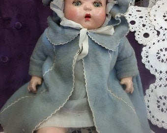 SALE - Sweet Vintage Large Composition Tin Sleep Eyed Baby Composition Doll In Original Clothes from Rustysecrets