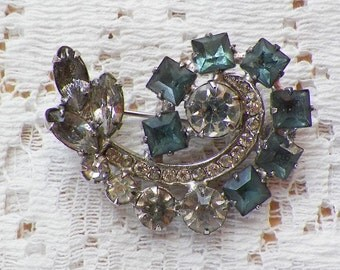 Vintage Square Aqua / Light Blue and Clear Rhinestone Paisley Shaped Pin / Brooch / Broach, Paste Stones, Bride / Bridal, Something Blue