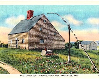 Vintage Nantucket Postcard - The Jethro Coffin House