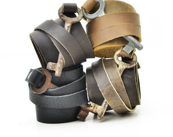 Leather Matching Cuff Bracelets - 3rd Wedding Anniversary - His and Hers Matching Leather Wrist Cuffs - His and His Gifts