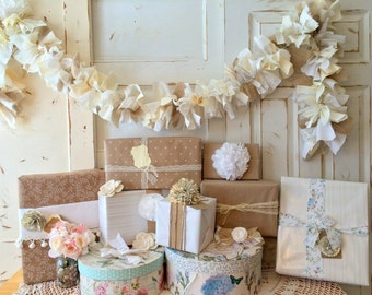 Burlap Wedding Garland, Choose size  6 - 10 foot Fabric Lace and Burlap Banner. Wedding or Shower Decoration, Reuse For Home