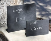 "Chalkboard Message Memo Menu Hours Boards, Sign, S or L sizes, 6.5"" x 10""w or 11"" x 14""w, free standing, reusable, black color"