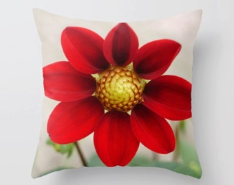 Red Dahlia Throw Pillow - Photography Pillow - Home Decor -Red Flower Pillow