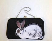 Sale Vegan Crouching English Spot Rabbit clutch - handpainted, small vintage 1950s black satin evening purse - vegan, one of a kind