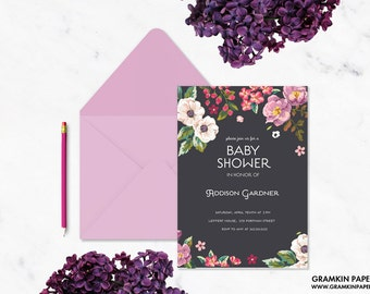Floral Bouquet Baby Shower Invitation
