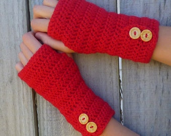 Pure Wool Fingerless gloves, knit arm warmers, crochet wrist warmers with button detail.