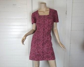60s Cotton Mini Dress in Dark Pink Paisley- 1960s Hippie / Boho / Festival- Medium