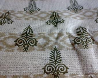 Paisley Print Indian Floral Saree Fabric, Hand Printed Cotton Sari By The Yard, Ikat Print Design Sari, Block Print Fabrics, Unique Fabrics