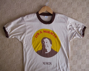 Vintage 70s Xerox Monk T-shirt It's a Miracle Ringer Tee NOS Large, RARE Vintage Tech Geek Tee Xerox Monk, Techie Hipster Gift Rare