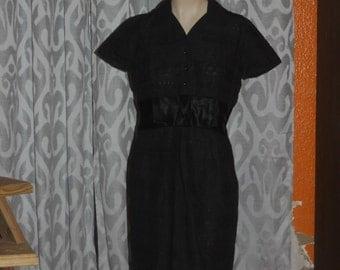 Vintage 1950's Black Eyelet Bombshell Party Dress D.R.A. Orginal 16 L
