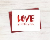 Love You More Than You Know Red I Love You Card