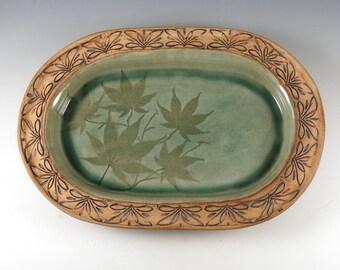 Decorative  Ceramic Plate - Handbuilt Pottery Serving Plate - Japanese Maple - 437