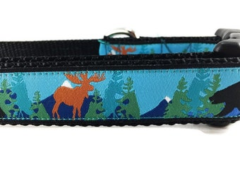 Dog Collar, Alaska, 1 inch wide, adjustable, quick release, metal buckle, chain, martingale, hybrid, nylon