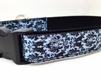 Dog Collar, Blue Damask, 1 inch wide, adjustable, quick release, metal buckle, chain, martingale, hybrid, nylon
