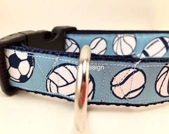 Dog Collar, Sports, 1 inch wide, adjustable, quick release, metal buckle, chain, martingale, hybrid, nylon