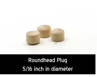 Unfinished Wood Roundhead Plug Button - 5/16 inches in diameter wooden shapes (WW-BR0312)
