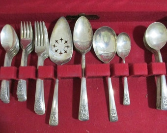 Vintage Silverware 48 Items in Harmony House Wood Chest Flower Pattern Many Serving Pieces
