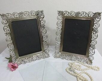 Filigree Picture Frame Set of 2 Gold Metal 5 x 7