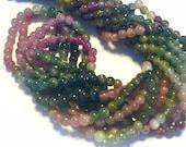 Watermelon tourmaline teeny tiny round beads whole strand