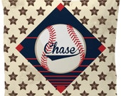 Personalized Throw Pillow Case/ Insert available -Baseball All Star Theme - Custom with your Name or Initials - two sizes available