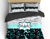 Monogrammed Paris & Zebra Bedding-  Silver Grey Zebra, Black-wht-turquoise-grey Paris hearts, words, eiffel- available Twin-F/Queen or King