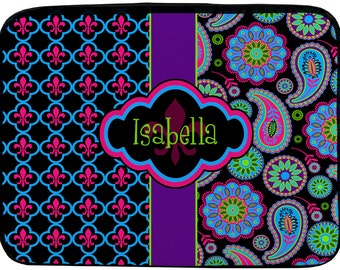 "Personalized Monogram Designer Paisley & Fleur de Lis iPad or NetBook Laptop Sleeves - 10""-Any design and many colors available"