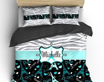 Monogrammed Paris & Zebra Bedding-  Silver Grey Zebra, Black-wht-turquoise-grey Paris hearts, words, eiffel- available Twin-F/Queen or King