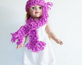 Chunky knit doll scarf & beanie, Doll Fashion Accessories, hand crocheted fringe beanie and scarf