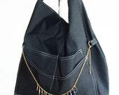 Midnight Blue Handbag, Large Hobo Slouch Handbag, Women's Sling Shoulder Bag with free necklace, dark blue handbag with pockets