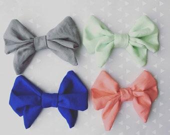 Sailor fabric bow alligator clip (pick 2)