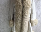 RESERVED Vintage White Leather & Shearling Coat