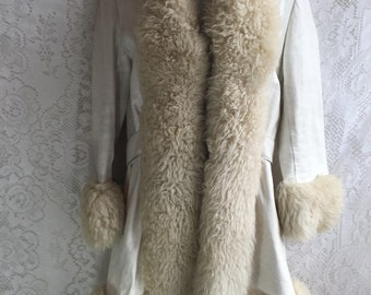 Vintage White Leather & Shearling Coat