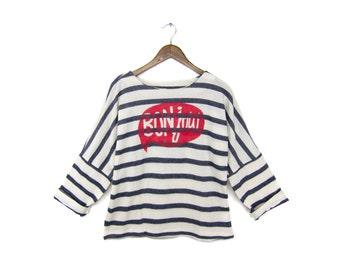 Bonjour Sweatshirt - Oversized Crew Neck Long Sleeve Tunic Sweater in Heather Navy Blue and White Stripe - Women's M L Q