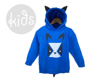 Geo Bulldog Hoodie - Pullover Fleece Hooded Long Sleeve Sweatshirt with Ears and Tail in Royal Blue Black and White - Baby & Toddler