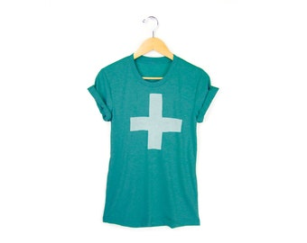 Apothecary Tee - Boyfriend Fit Crew Neck Tshirt with Rolled Cuffs in Heather Turquoise Green & White - Women's Size S M L XL 2XL 3XL
